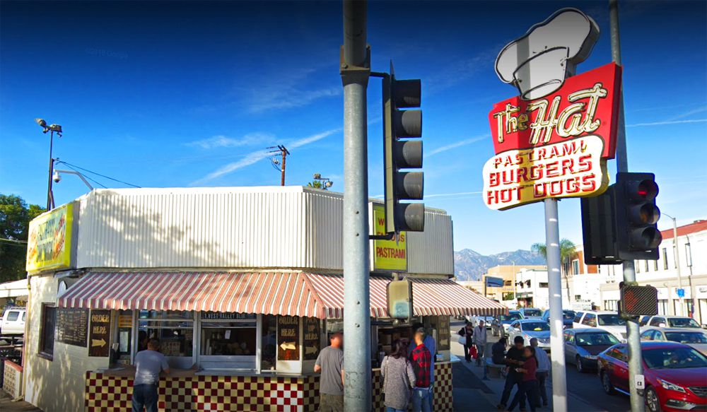 Exterior of the 68-year old, walk up Alhambra, California location of The Hat and its famous pastrami sandwich.