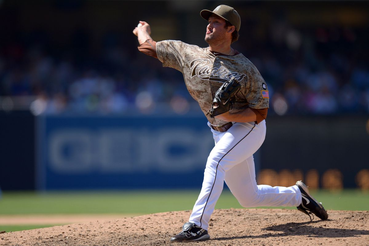 Aug 5, 2012; San Diego, CA, USA; San Diego Padres relief pitcher Huston Street (16) pitches during the ninth inning against the New York Mets at Petco Park. Mandatory Credit: Jake Roth-US PRESSWIRE