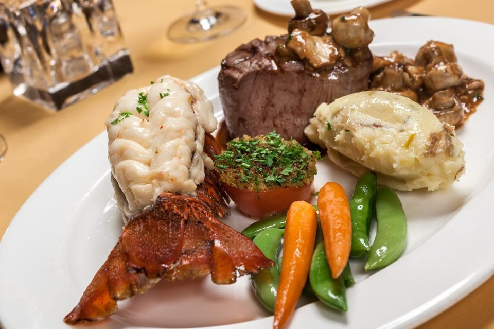 Surf and turf with potatoes and vegetables