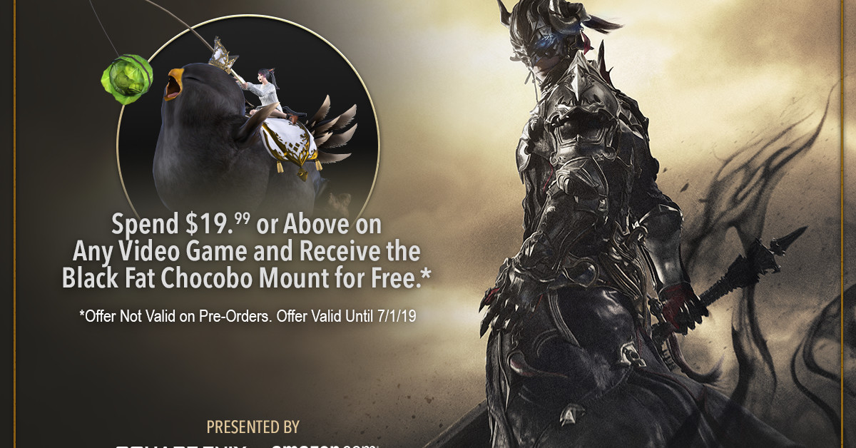 FF14 Online Black Fat Chocobo mount free at Amazon with $20 purchase