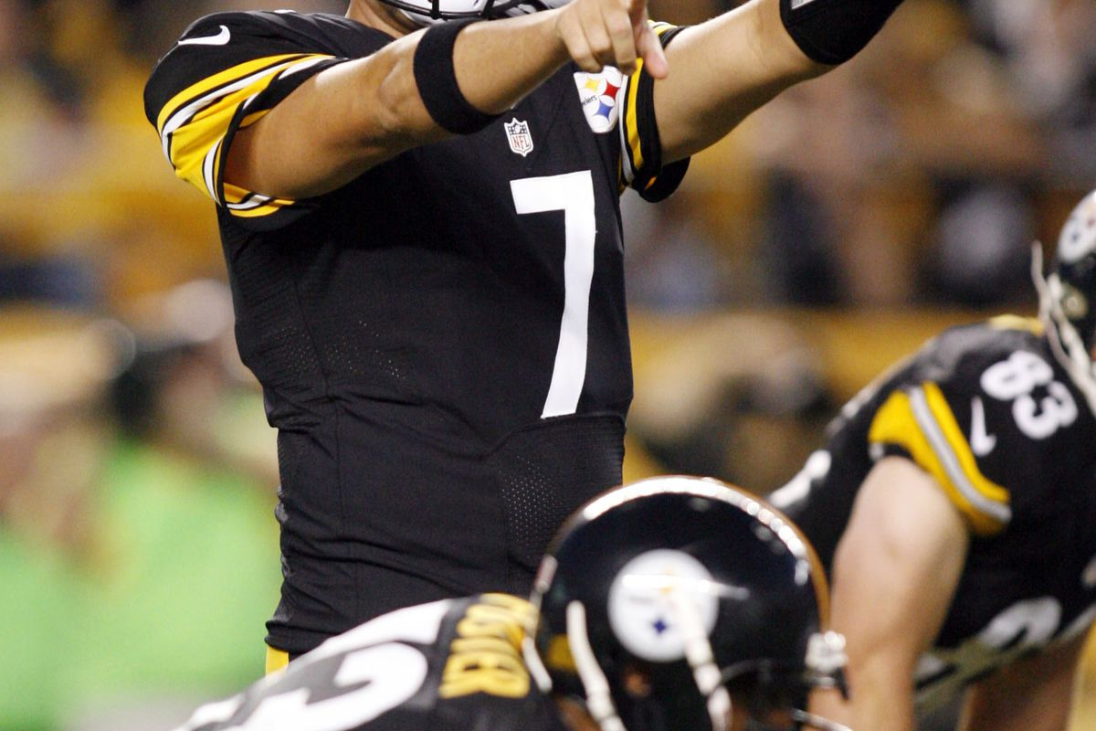 August 19, 2012; Pittsburgh, PA, USA; Pittsburgh Steelers quarterback Ben Roethlisberger (7) calls an audible against the Indianapolis Colts during the first quarter at Heinz Field. Mandatory Credit: Charles LeClaire-US PRESSWIRE