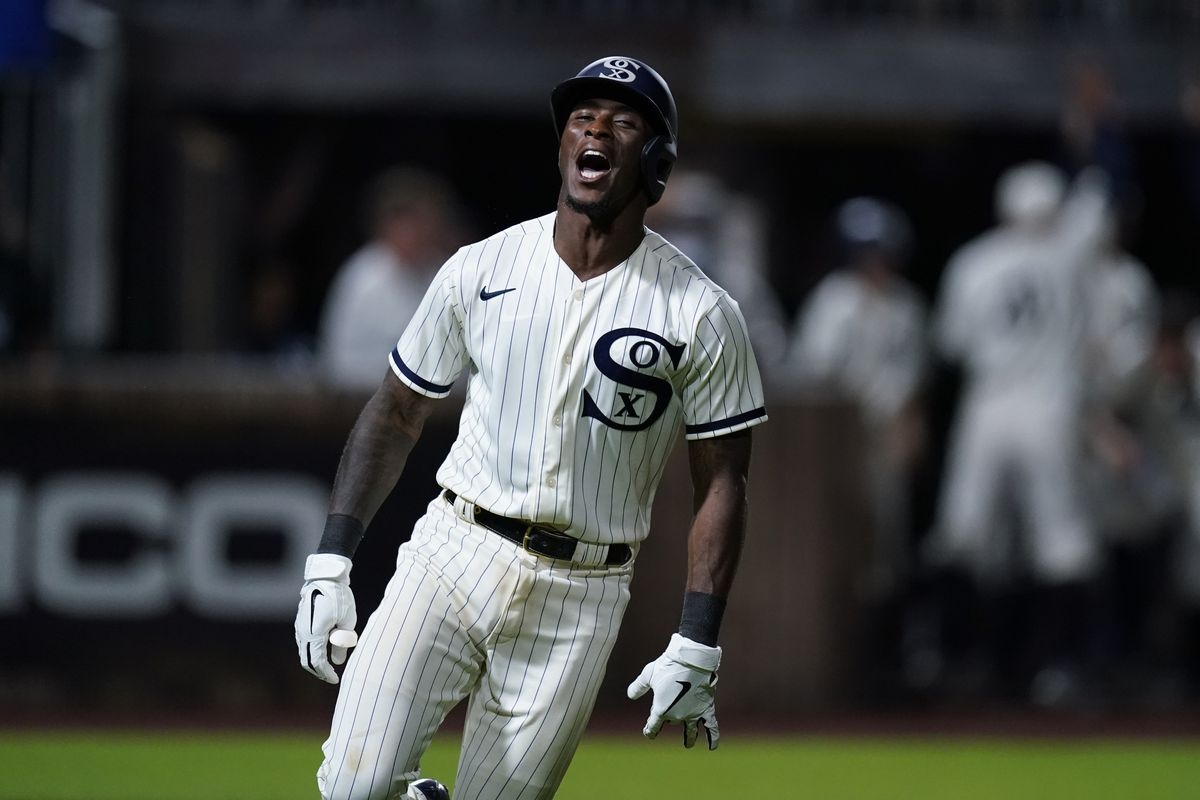 The White Sox' Tim Anderson celebrates his walk-off home run against the New York Yankees during the Field of Dreams game in Dyersville, Iowa.