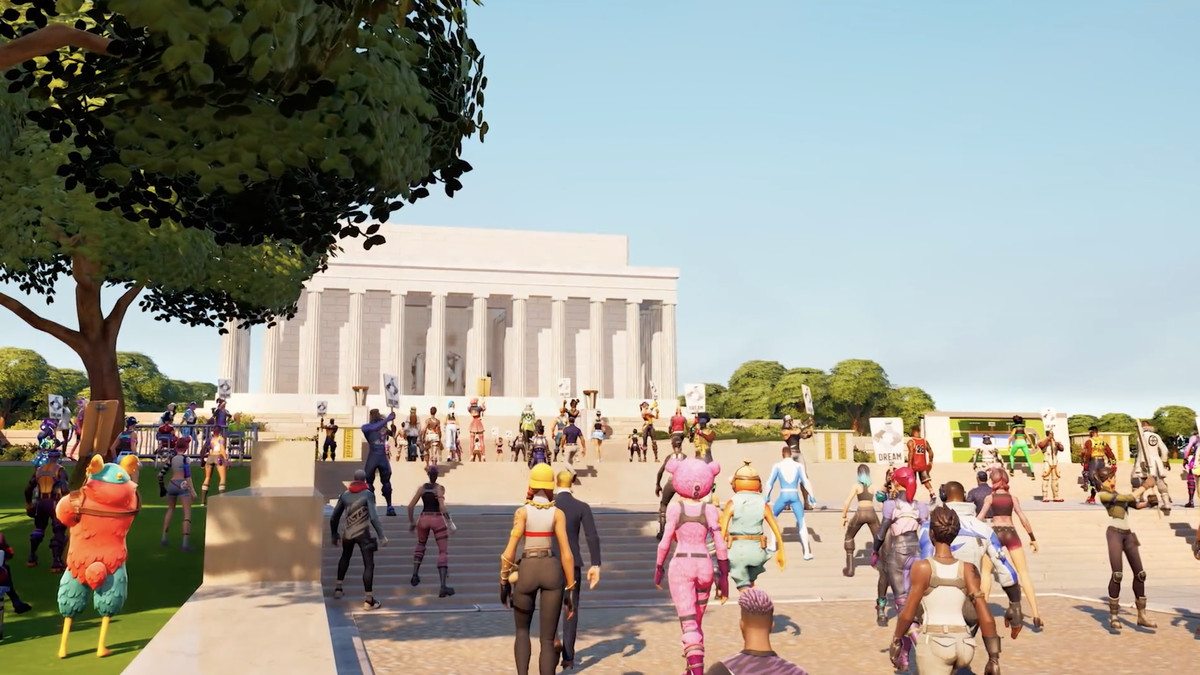 an image of a bunch of fornite characters walking up to a virtual version of the national mall