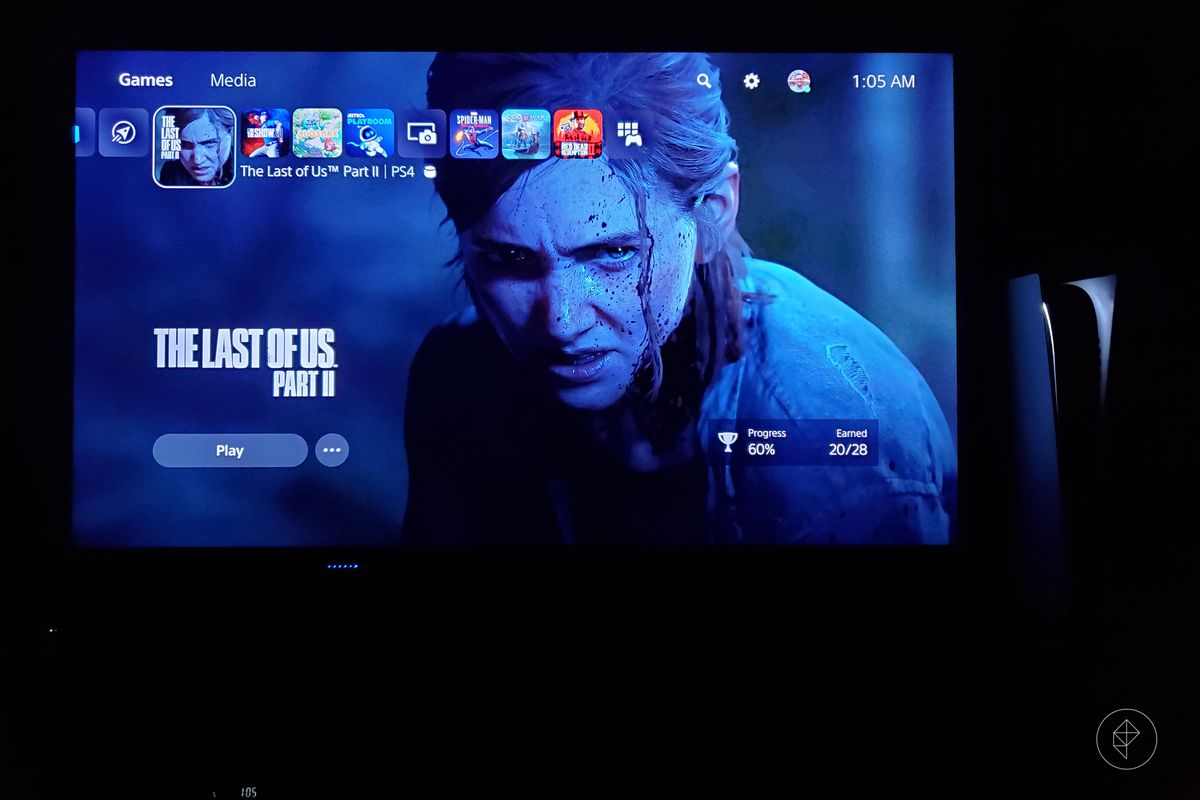 the PlayStation 5 standing vertically to the right of a TV showing the PS5 dashboard with The Last of Us Part 2 selected, photographed in a dark room