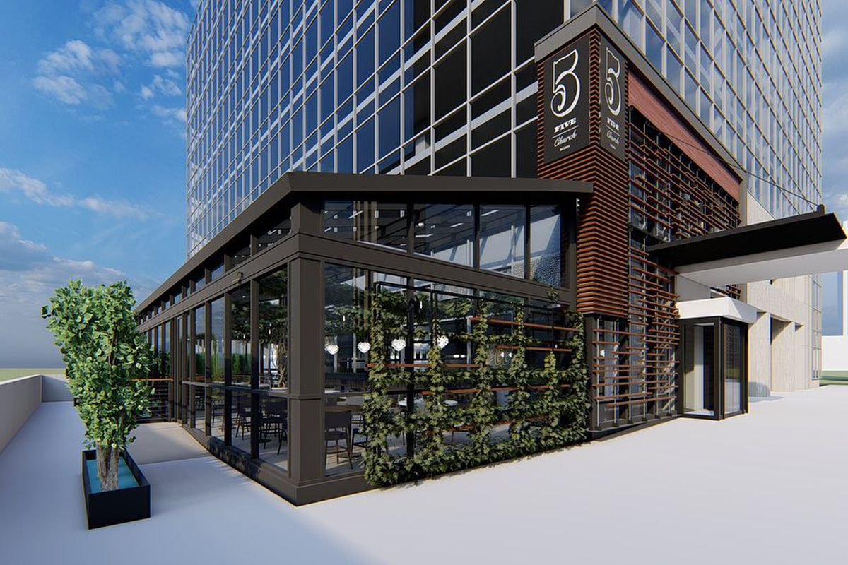 Rendering of the exterior of 5Church with its enclosed sunroom in Buckhead, Atlanta