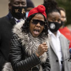 Flanked by family members and attorneys, Latoya Johnson talks about her niece, Tafara Williams, during a press conference outside Waukegan's city hall complex, Tuesday morning, Oct. 27, 2020. Williams, 20, was wounded and her boyfriend, 19-year-old Marcellis Stinnette, was killed when they were both shot by a Waukegan police officer on Oct. 20.