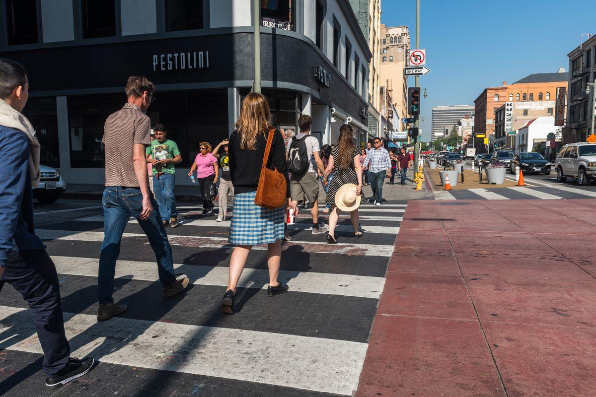 People walking in Downtown LA
