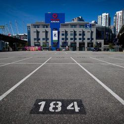Rogers Arena, the home of the Vancouver Canucks NHL hockey team, is pictured from a parking lot across the street from the arena in Vancouver, British Columbia, on Sunday Sept. 16, 2012. The NHL locked out its players at midnight Saturday, the fourth shutdown for the NHL since 1992, including a year-long dispute that forced the cancellation of the entire 2004-05 season.