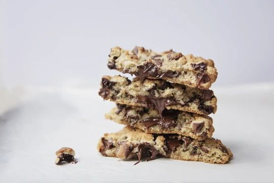 A pile of chocolate chip cookies.