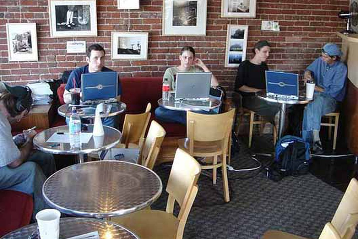 """Inside the Swork cafe in Eagle Rock (but where are all the Macs?)  Image via <a href=""""http://flickr.com/photos/ikkoskinen/282976850/"""">ikkoskinen</a>/Flickr"""