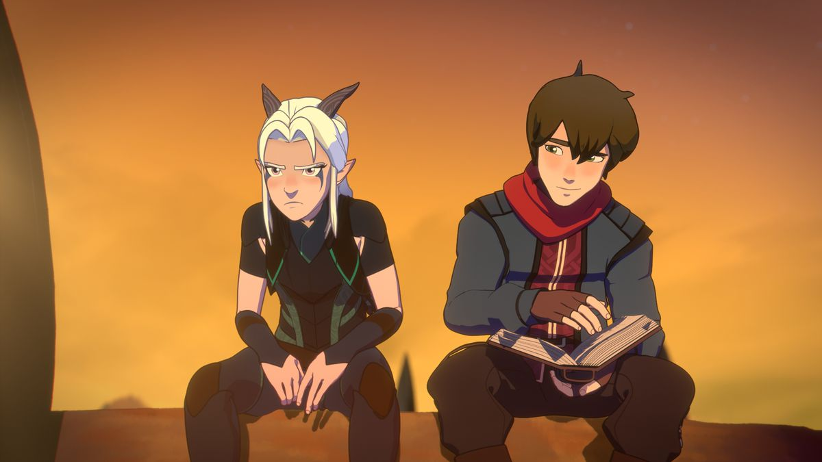 rayla sits, kinda grumpy, next to callum who is reading a book