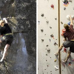 In this combo of images from video provided by Dartmouth College, a climber ascends an outdoor rock face, left, on Dec. 12, 2015 in Rumney, N.H., and another climber ascends a replica indoor climbing wall, right, on Jan. 16, 2016, in Hanover, N.H. Using three-dimensional geometry, the three-dimensional replica of the rock wall was created by tracking a climber's hand and foot positions and by estimating the contact forces.