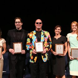 Former BYU quarterback Jim McMahon, center, was one of five former All-Americans who were enshrined into the BYU Athletic Hall of Fame Thursday. Others included, from left, Kelly Parkinson Evanson (gymnastics), Dmitri Malinovski (swimming),  Tara Rohatinsky Northcutt (cross-country/track) and Aleisha Cramer Rose (soccer).