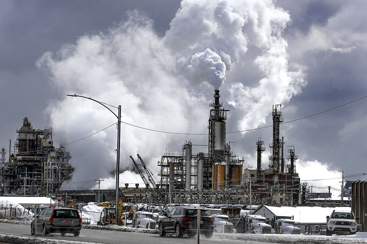 Steam rises from the Marathon refinery on a cold morning in Salt Lake City on Wednesday, Feb. 17, 2021.