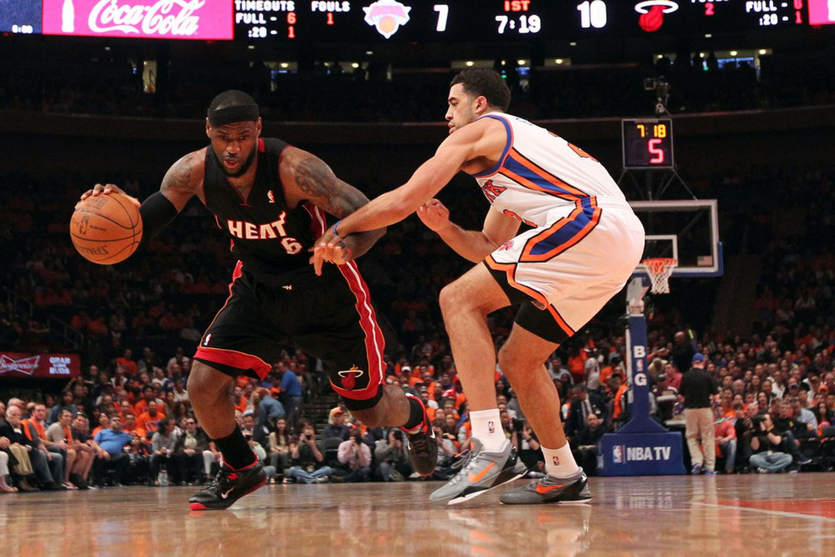 Apr 15, 2012; New York, NY, USA;  Miami Heat small forward LeBron James (6) drives past New York Knicks guard Landry Fields (2) during the first quarter at Madison Square Garden.  Mandatory Credit: Anthony Gruppuso-US PRESSWIRE
