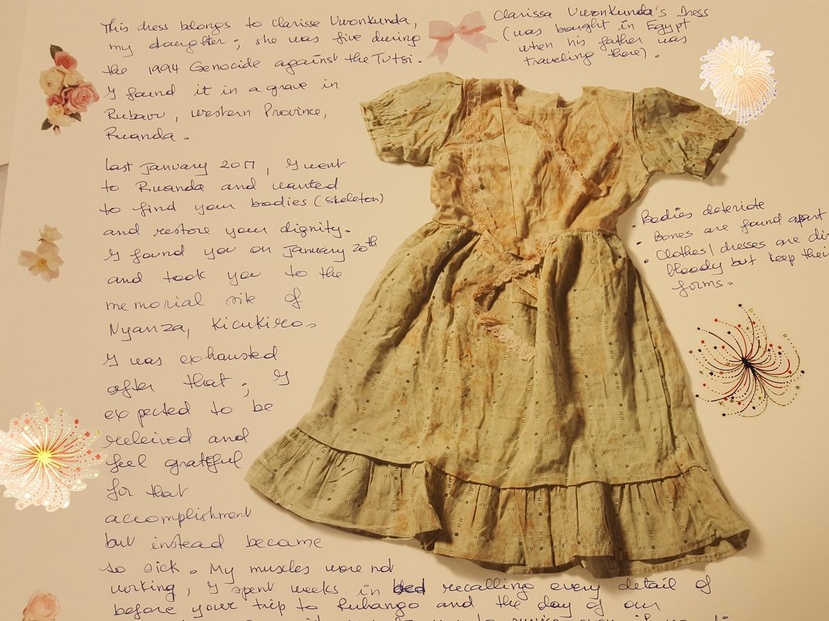 """This blood-stained dress from a 5-year-old girl killed in the Rwandan genocide is one of the many mementos included in a new exhibit by photographer Jim Lommasson titled """"Stories of Survival: Object, Image, Memory,"""" at the Illinois Holocaust Museum and Ed"""
