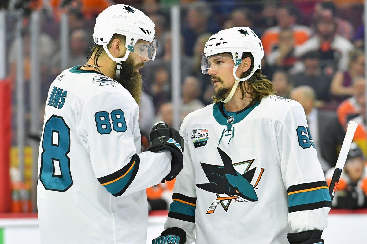 San Jose Sharks defenseman Brent Burns (88) and defenseman Erik Karlsson (65) during the first period against the Philadelphia Flyers at Wells Fargo Center.