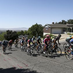The peloton powers up a hill in a neighborhood during Stage 3 of the Tour of Utah near Bountiful on Thursday, Aug. 15, 2019.