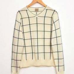 "<a href=""http://www.unitedbamboo.com/store/V-Neck-Pullover-Checked-Sweater-Off-White-Green-Check-FS.html"">V-Neck Pullover Checked Sweater</a>, $177 (was $295)"