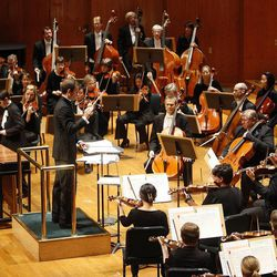 Conductor Vladimir Kulenovic and the Utah Symphony during a Salute to Youth concert on Sept. 27, 2011.