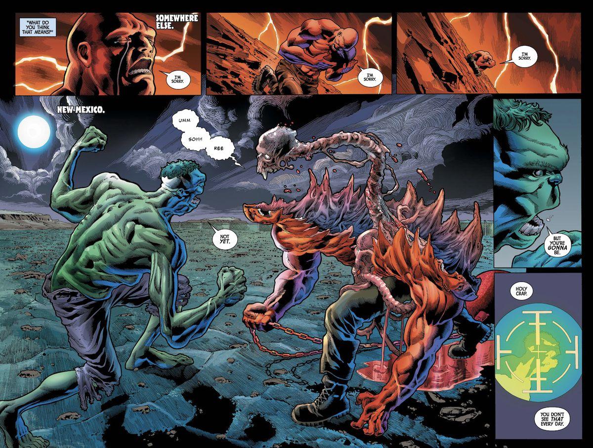 hulk fights a skeleton monster