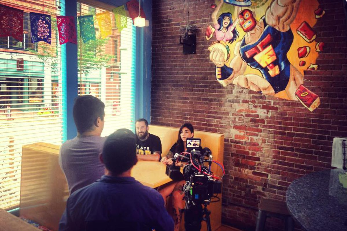 """A crew for the series """"Taco Trip"""" films at Taco Escobarr in Portland."""
