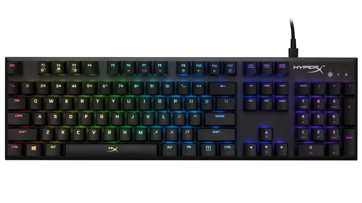 A product shot of the HyperX Alloy FPS RGB keyboard