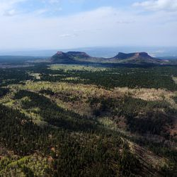 FILE - The Bears Ears, of Bears Ears National Monument on Monday, May 8, 2017. Interior Secretary Ryan Zinke released an executive summary of his findings from a 120-day review of 27 national monuments. The report says some monument designations clearly stretched definitions in the 1906 Antiquities Law, but it lacks specifics.