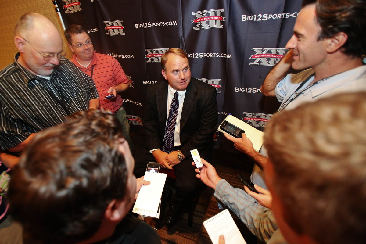 """Jul 23, 2012; Dallas, TX, USA; TCU Horned Frogs head coach Gary Patterson looks at FWST Blogger Mac Engel with a face that screams, """"Are you f***ing serious Mac??!!"""""""