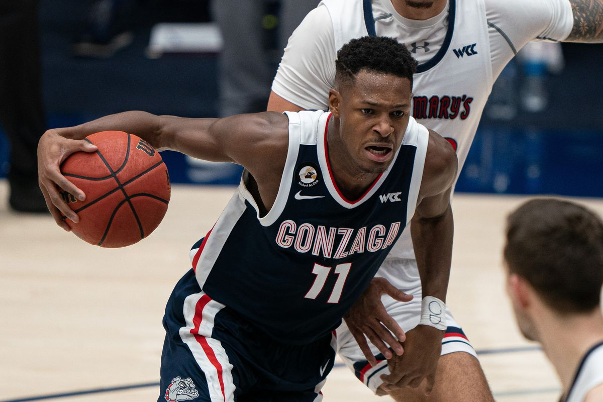 Gonzaga Bulldogs guard Joel Ayayi controls the ball against St. Mary's Gaels during the second half at McKeon Pavilion.