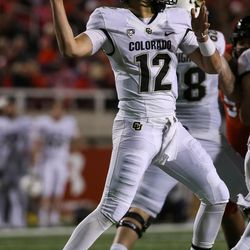 Colorado Buffaloes quarterback Steven Montez (12) winds up for a pass during the game against the Utah Utes at Rice-Eccles Stadium in Salt Lake City on Saturday, Nov. 25, 2017.