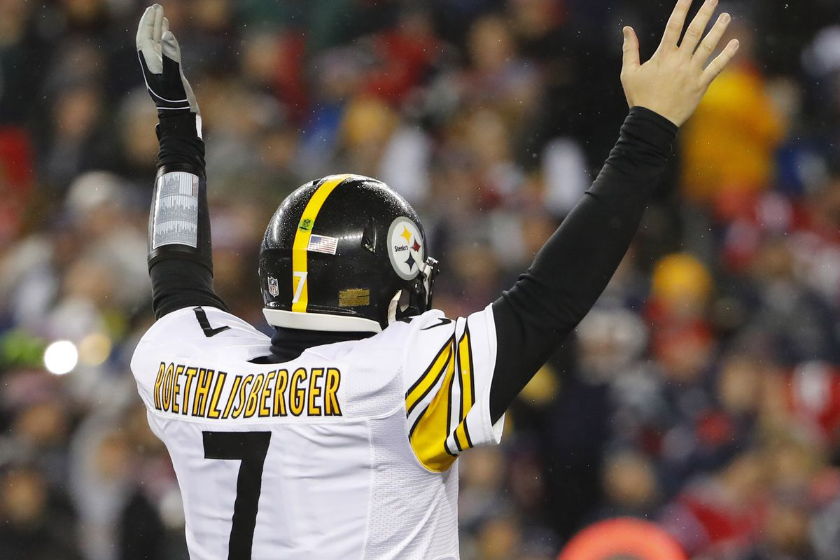 Pittsburgh Steelers quarterback Ben Roethlisberger celebrates a touchdown against the New England Patriots during the first half in the 2017 AFC Championship Game at Gillette Stadium.