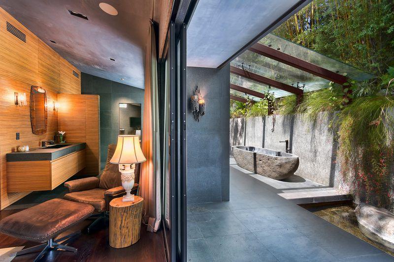 Indoor and outdoor bathroom
