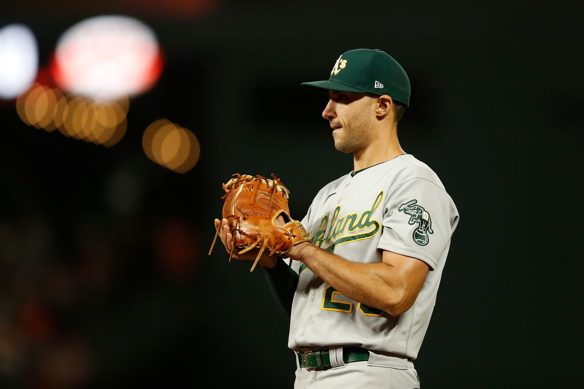 Matt Olson of the Oakland Athletics fields at first base against the San Francisco Giants at Oracle Park on June 25, 2021 in San Francisco, California.