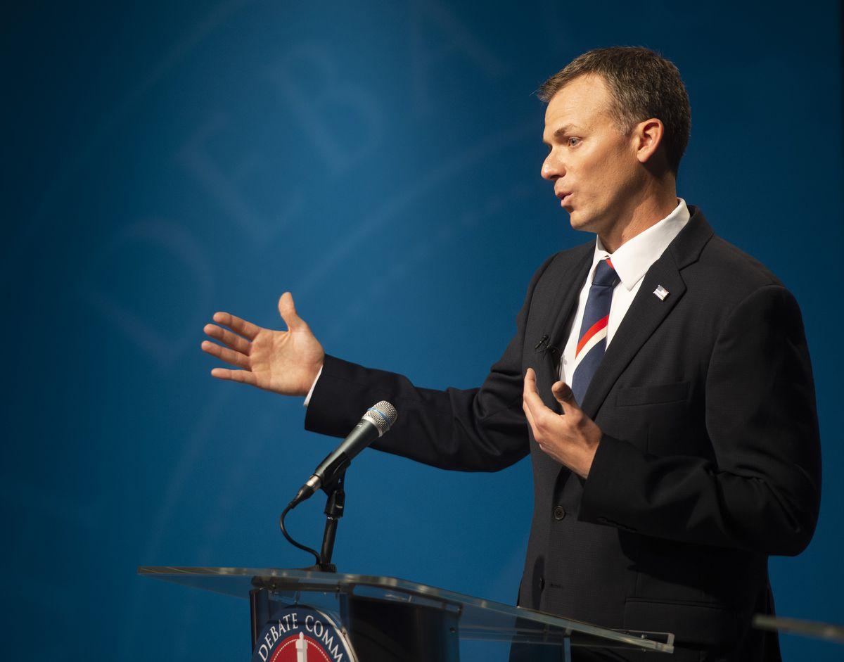 Businessman Blake Moore speaks during the 1st Congressional District Republican debate at the PBS Utah studios in Salt Lake City on Tuesday, June 2, 2020.