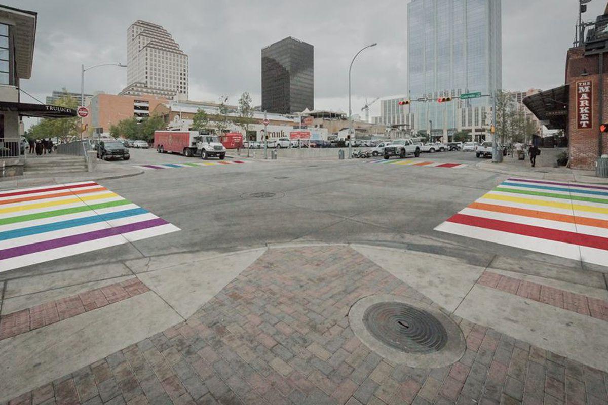 Rendering of rainbow crosswalks