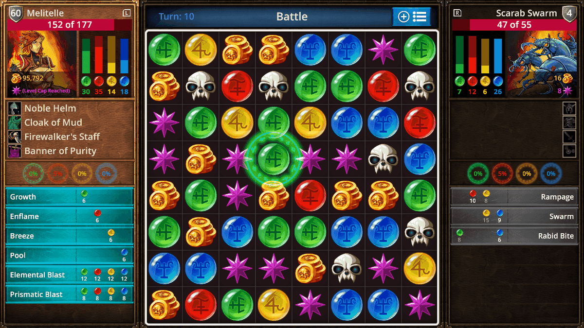 The game board filled with colorful shapes in Puzzle Quest: The Legend Returns