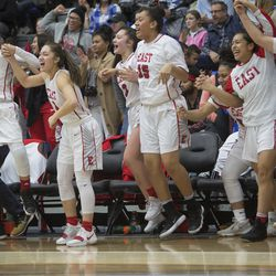 The East High Leopards celebrate their 68-48 victory against Timpview in the Class 5A state championship game at Salt Lake Community College in Taylorsville on Saturday, Feb. 24, 2018.