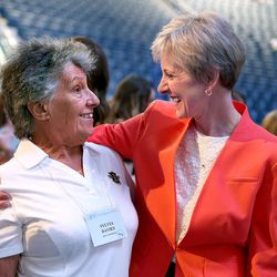 Sylvia Davies, left, of Australia speaks with Sister Jean B. Bingham, LDS Church Relief Society general president, center, after members of the Relief Society general presidency spoke at the BYU Women's Conference in the Marriott Center in Provo on Friday, May 5, 2017.