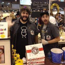 Eatsie Boys Matt Marcus (left) and Ryan Soroka (right) at their booth (Photo: Mai Pham)