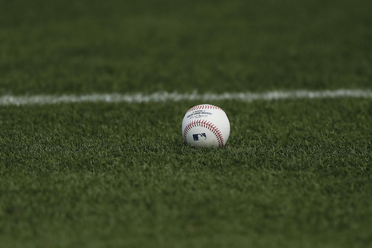 A detail of a baseball during a Grapefruit League spring training game between the St. Louis Cardinals and the New York Mets at Roger Dean Stadium on February 22, 2020 in Jupiter, Florida.