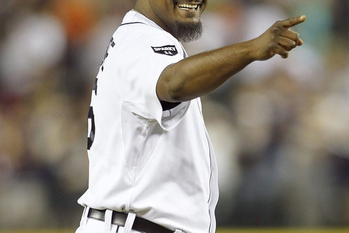 DETROIT - JUNE 01:  Jose Valverde #46 of the Detroit Tigers celebrates a 4-2 win over the Minnesota Twins at Comerica Park on June 1, 2011 in Detroit, Michigan. (Photo by Leon Halip/Getty Images)