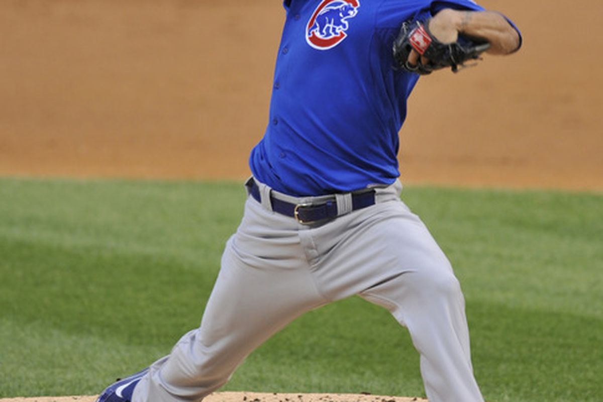 Matt Garza of the Chicago Cubs pitches against the Chicago White Sox on June 21, 2011 at U.S. Cellular Field in Chicago, Illinois.  (Photo by David Banks/Getty Images)