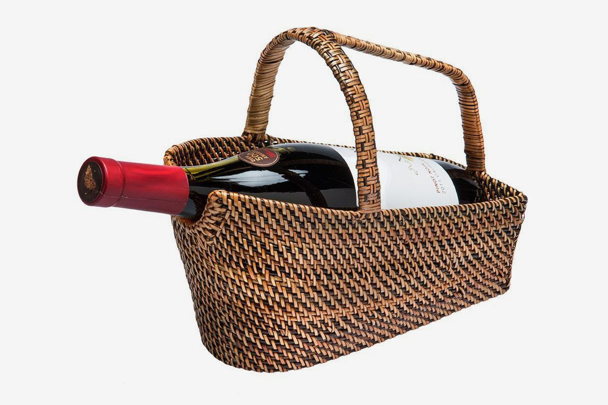 A wine bottle basket and decanter