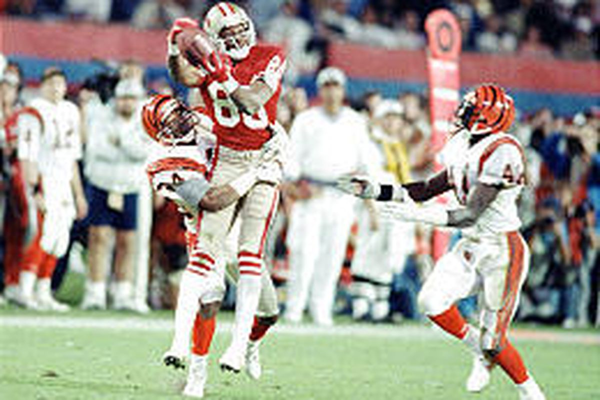 Jerry Rice was instrumental in leading San Francisco to three Super Bowl titles, including this one in 1989.