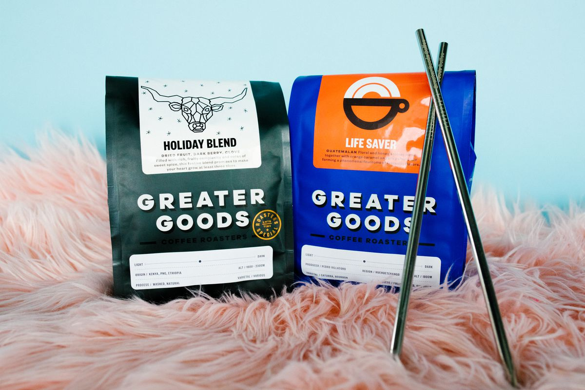 Greater Goods' coffee and metal straws