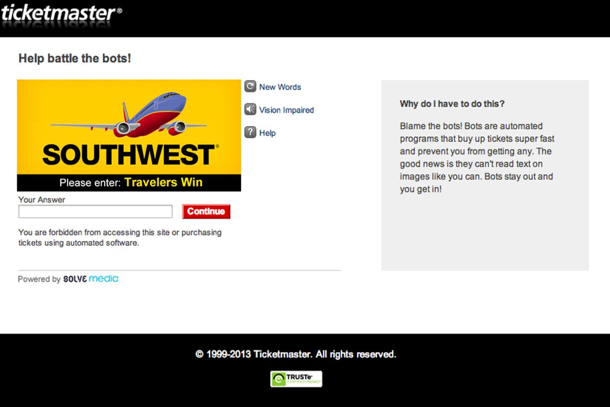 Ticketmaster leaves ReCAPTCHA behind, will verify users with