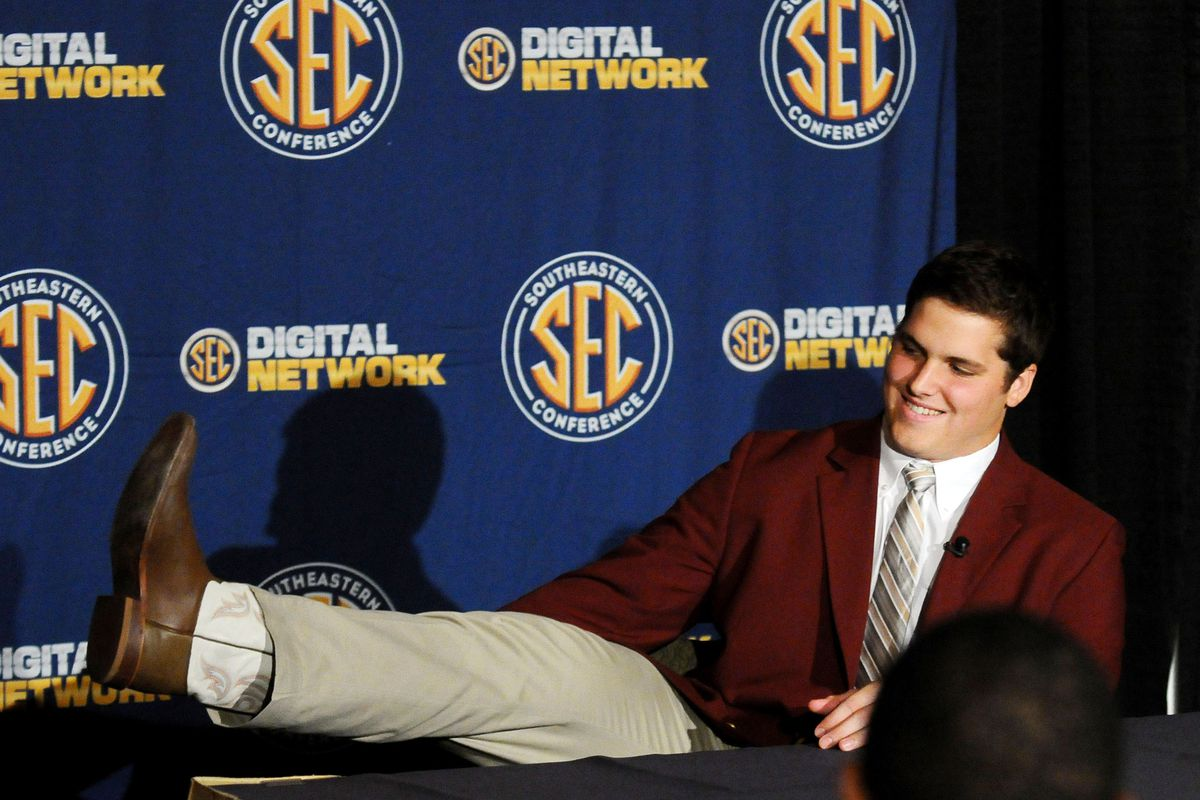 July 17, 2012; Hoover, AL, USA;  Texas A&M Aggies offensive tackle Luke Joeckel  shows off his cowboy boots to media members during the 2012 SEC media days event at the Wynfrey Hotel.   Mandatory Credit: Kelly Lambert-US PRESSWIRE