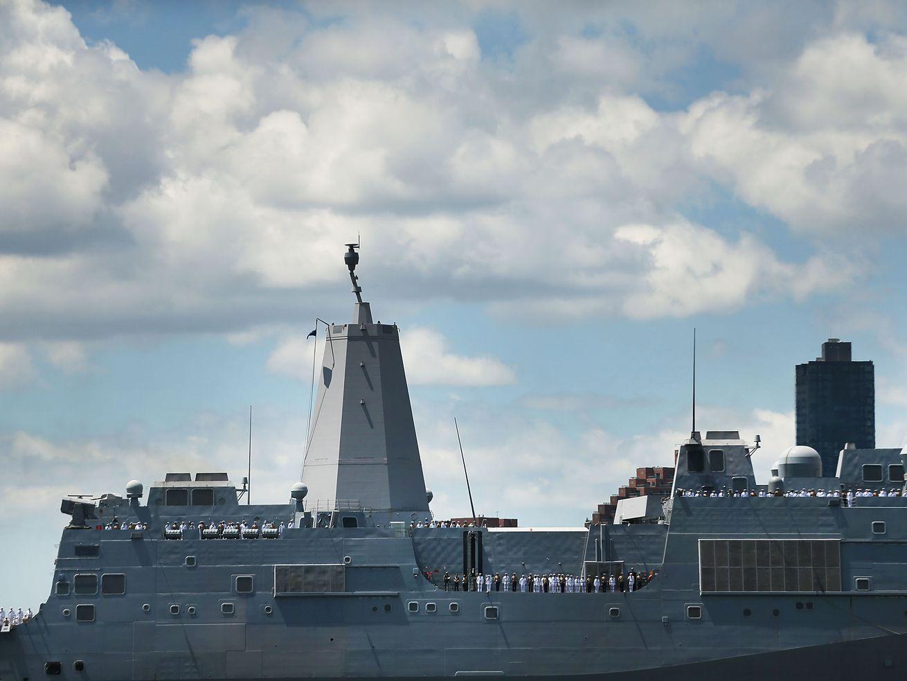 The USS Arlington in New York City's 2018 Fleet Week.