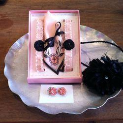Handmade silk garter and handkerchief set by Previously Chicago, $80; Resin Earrings by Marsha Spaniel, $22; Handmade silk headband by Bonnie Golding, $50